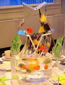 Pineapple and Star Center piece in ice