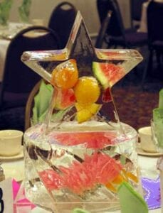 Star with fruit centerpiece in ice