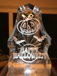 Large Pumpkin and Happy Halloween luge, tracks on both sides