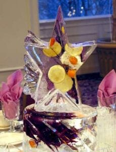 Purple Flower with star centerpiece in ice