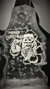 Santa beer full block luge shots come off the left and right side