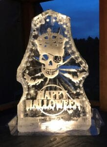large Skull Shot luge - shots come off left and right side we can customized these for every holiday or event