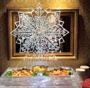 Snow Flake and Shrimp ice sculpture