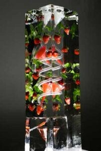 Strawberry Mint Ice Luge Sculpture