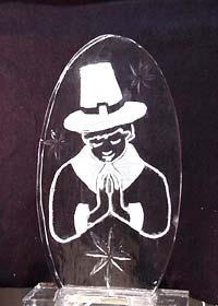 Thanksgiving Pilgrim engraving ice sculpture