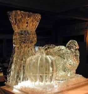 Thanksgiving pumpkin and Turkey ice sculpture
