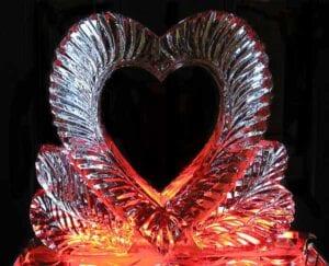 Valentines Day Heart ice sculpture