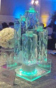 Votive candle ice centerpiece
