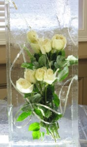 Fresh White roses base in decorative block