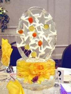 Yellow Pendant Centerpiece Ice Sculpture