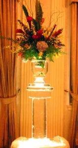 Small vase on pedestal ice sculpture
