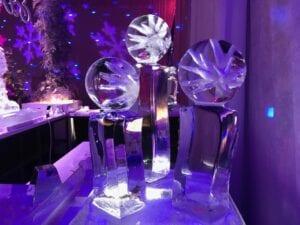 Decorative snowflake balls on pedestals
