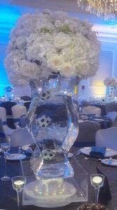 Tall Vase w Soccer Balls Ice Sculpture