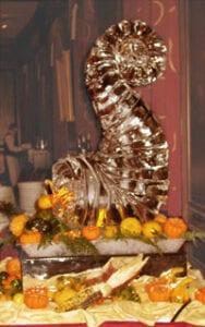 Thanksgiving Cornucopia ice sculpture