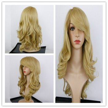Charming Long Synthetic Blonde Capless Fluffy Wavy Women's Wig