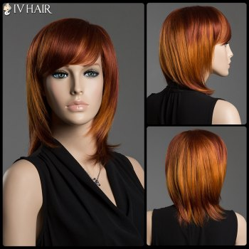 Multi-Colored Medium Side Bang Human Hair Straight Siv Hair Capless Wig