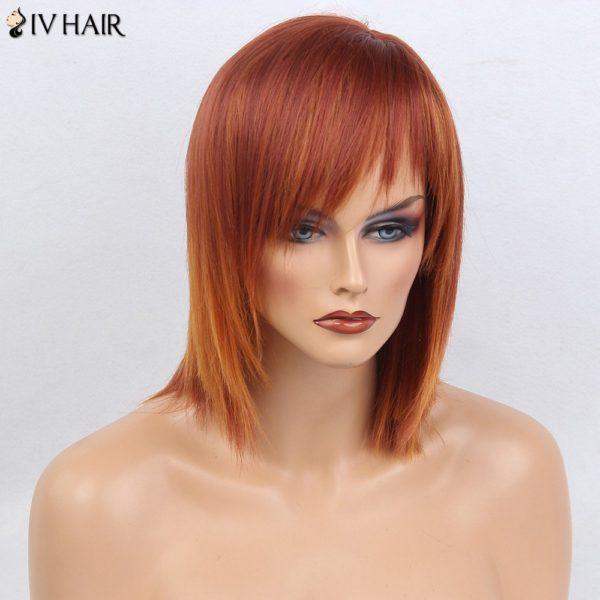 Siv Hair Oblique Bang Short Silky Straight Bob Human Hair Wig
