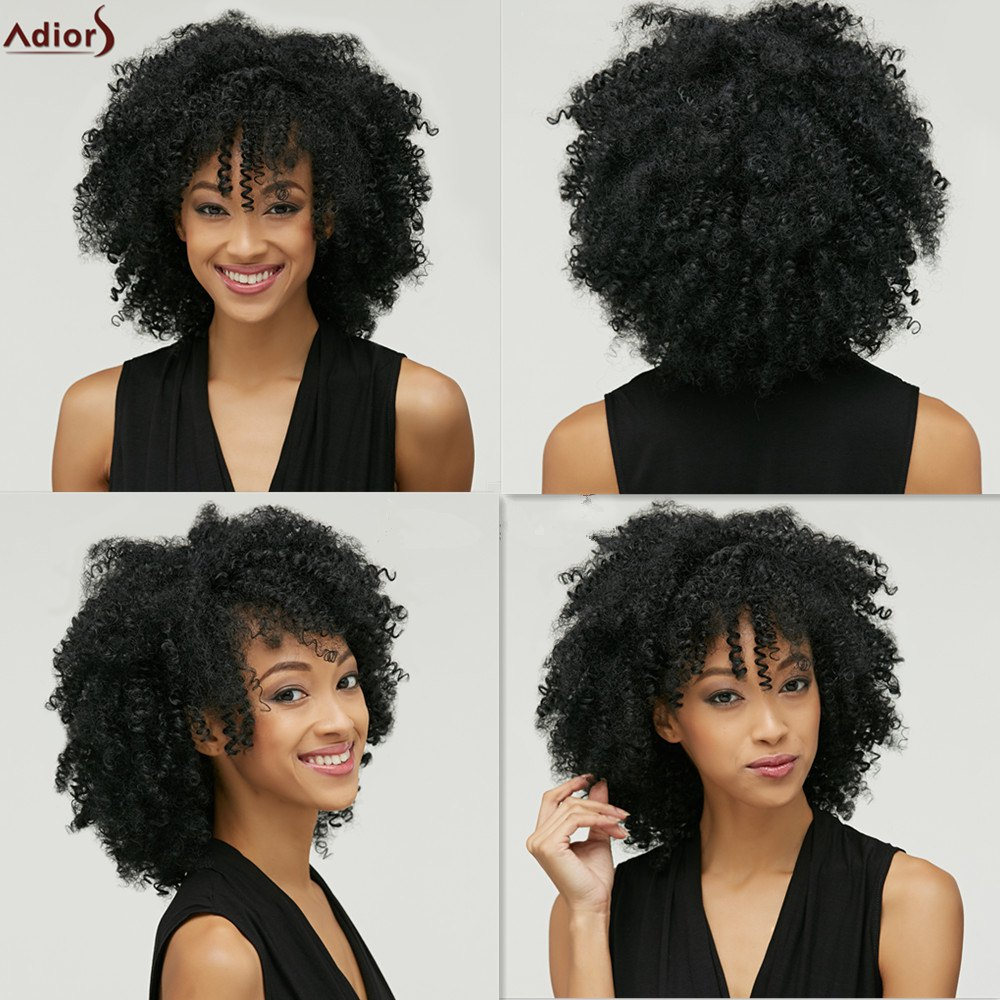 Fluffy Afro Curly Heat Resistant Fiber Fashion Medium Capless Adiors Wig For Women