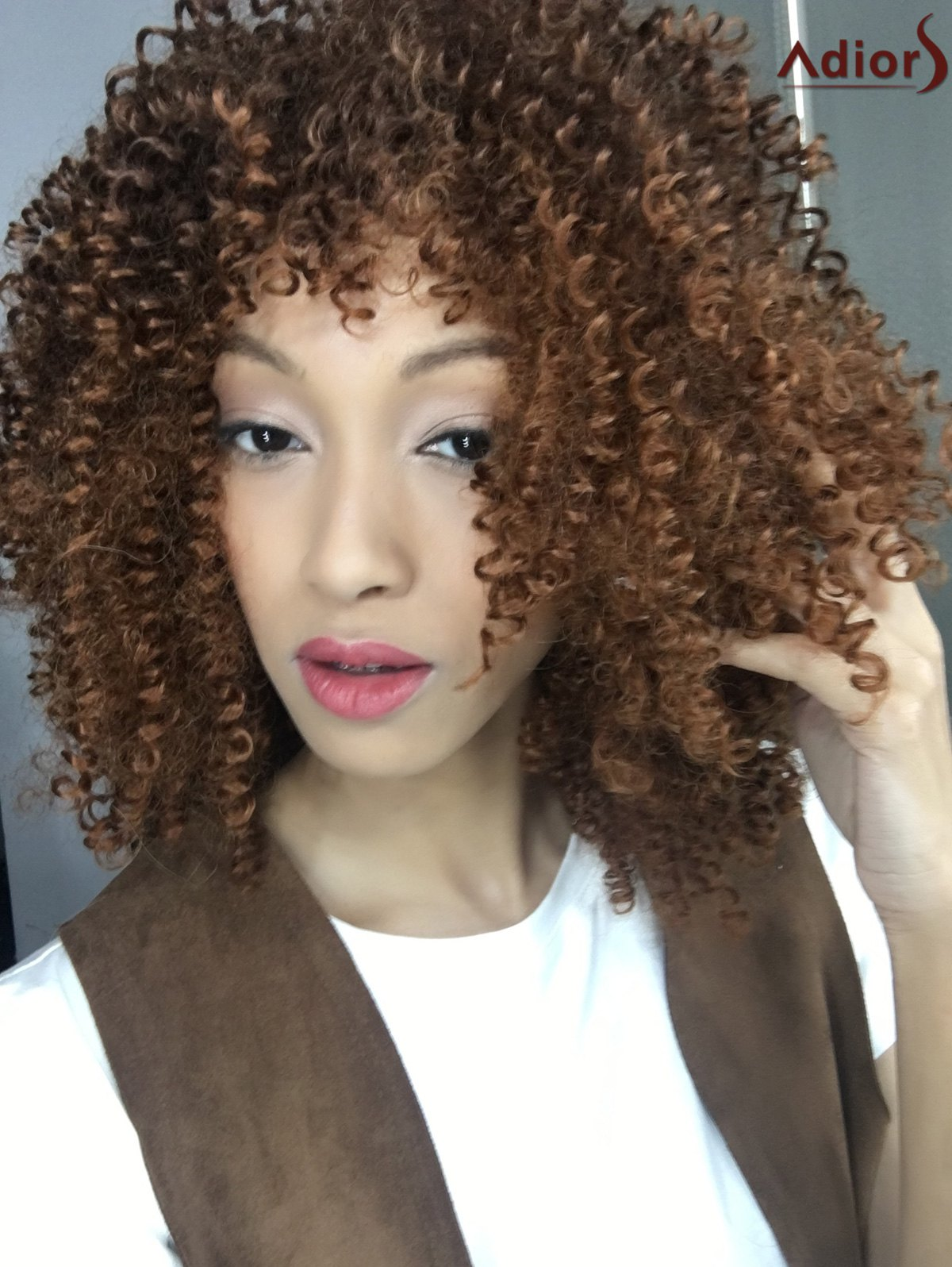 Stylish Medium Brown Synthetic Towheaded Afro Curly Capless Wig For Women