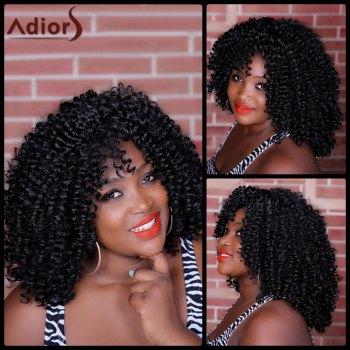 Adiors Kinky Curly Long Inclined Bang Synthetic Wig