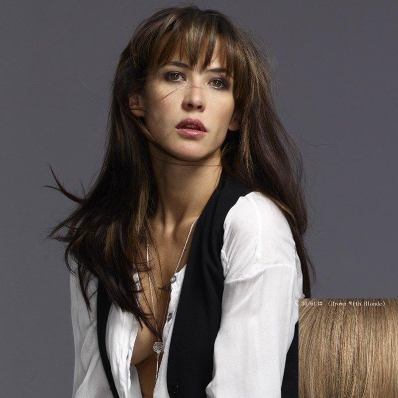 Fluffy Natural Straight Charming Long Full Bang Capless Human Hair Wig For Women