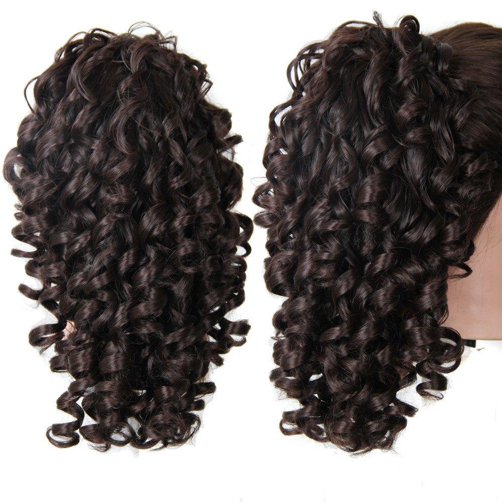 Shaggy Kinky Curly Medium Ponytail Hair Pieces