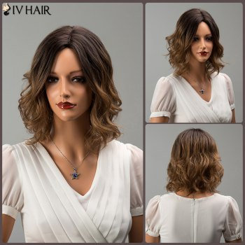 Siv Hair Mixed Color Short Middle Part Wavy Human Hair Wig