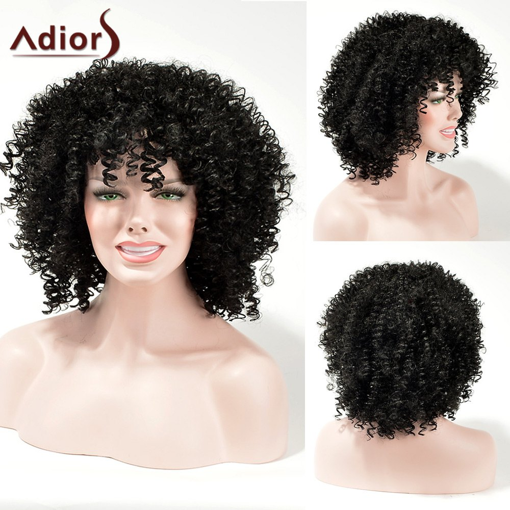 Adiors Fluffy Medium Kinky Curly Weave Synthetic Hair
