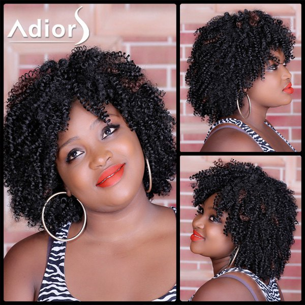 Stylish Medium Deep Brown Capless Shaggy Afro Curly Synthetic Wig For Women