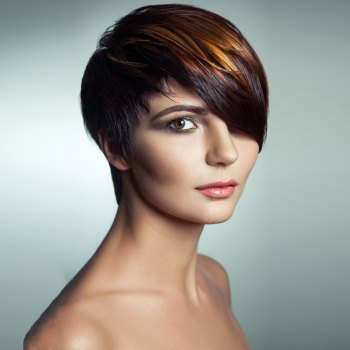 Dull Rayon Short Side Bang Straight Pixie Highlight Synthetic Wig