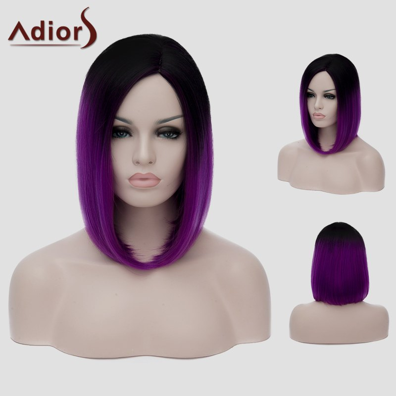 Harajuku Straight Capless Black Gradient Purple Synthetic Attractive Short Women's Cosplay Wig