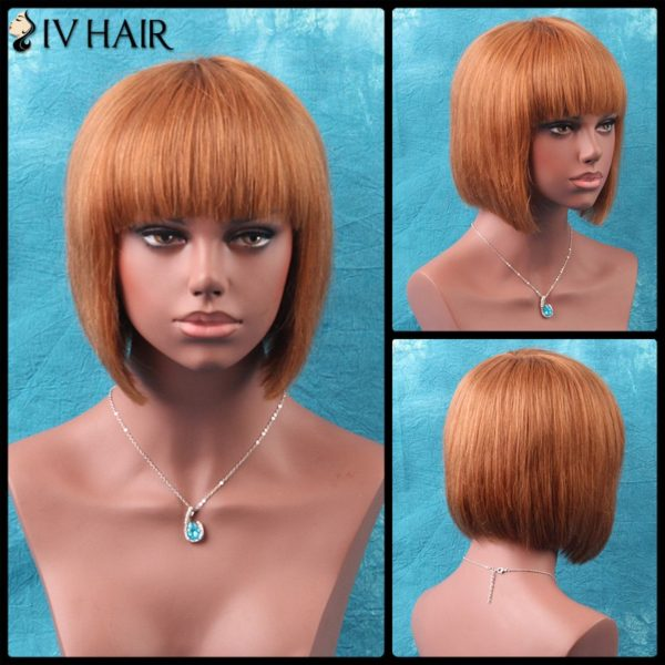 Siv Short Shaggy Neat Bang Bob Straight Human Hair Wig