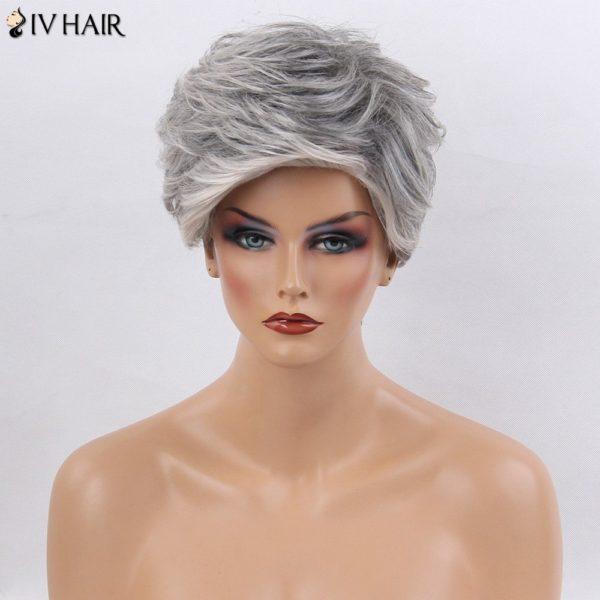 Siv Hair Colormix Side Bang Layered Short Straight Human Hair Wig
