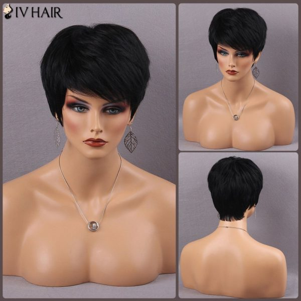 Siv Hair Fluffy Short Side Bang Straight Real Natural Hair Wig