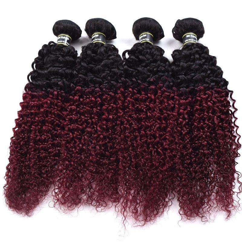 1 Pcs Ombre Color Kinky Curly 6A Virgin Brazilian Hair Weave