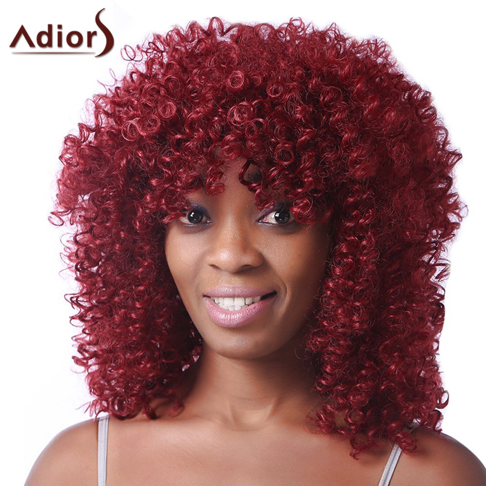 Trendy Red Medium Synthetic Fluffy Afro Curly Women's Capless Wig