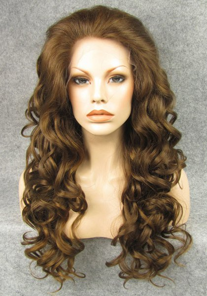 Trendy Fluffy Long Wavy Elegant Chestnut Brown Heat Resistant Synthetic Women's Wig
