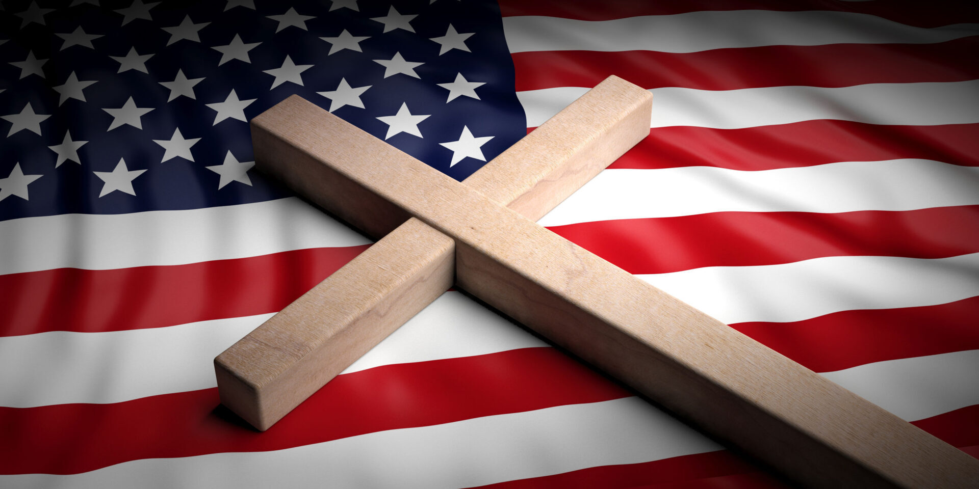 USA and christianity. Christian cross on American flag background. 3d illustration