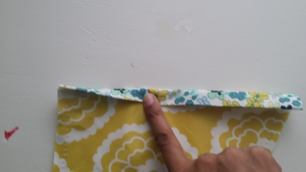 Add your binding to the top of the pocket piece