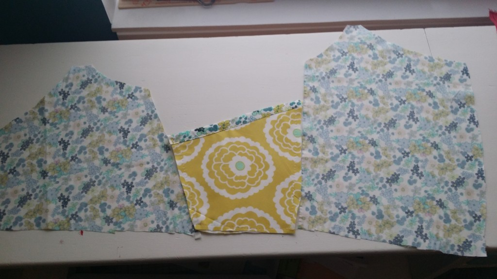 With right sides together, sew the pocket piece to the two overlays