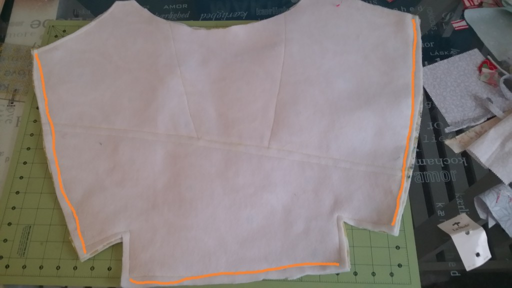 Sew the front to the back using the red line as a guide