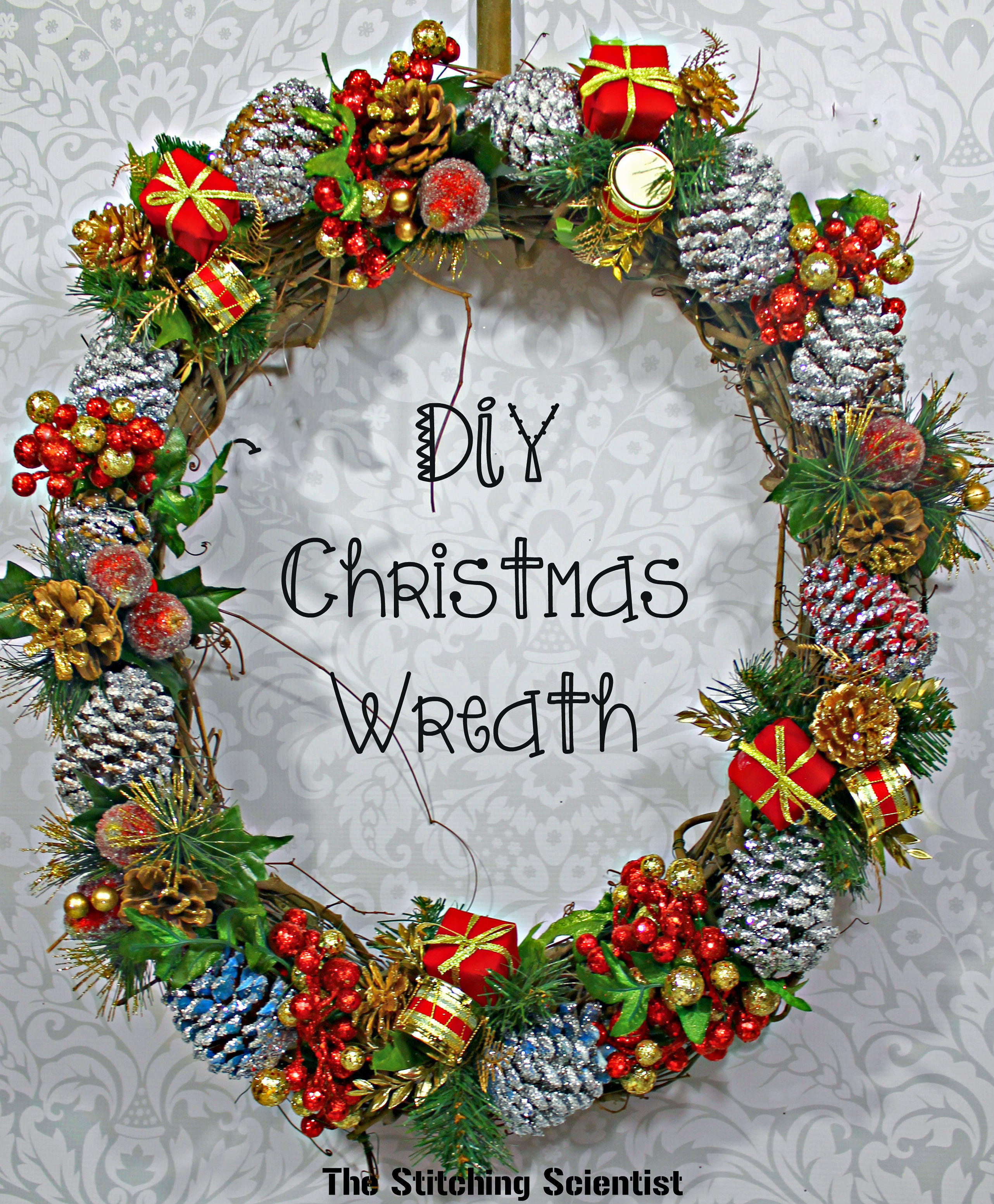 DIY Glitter Pine Cone Wreath