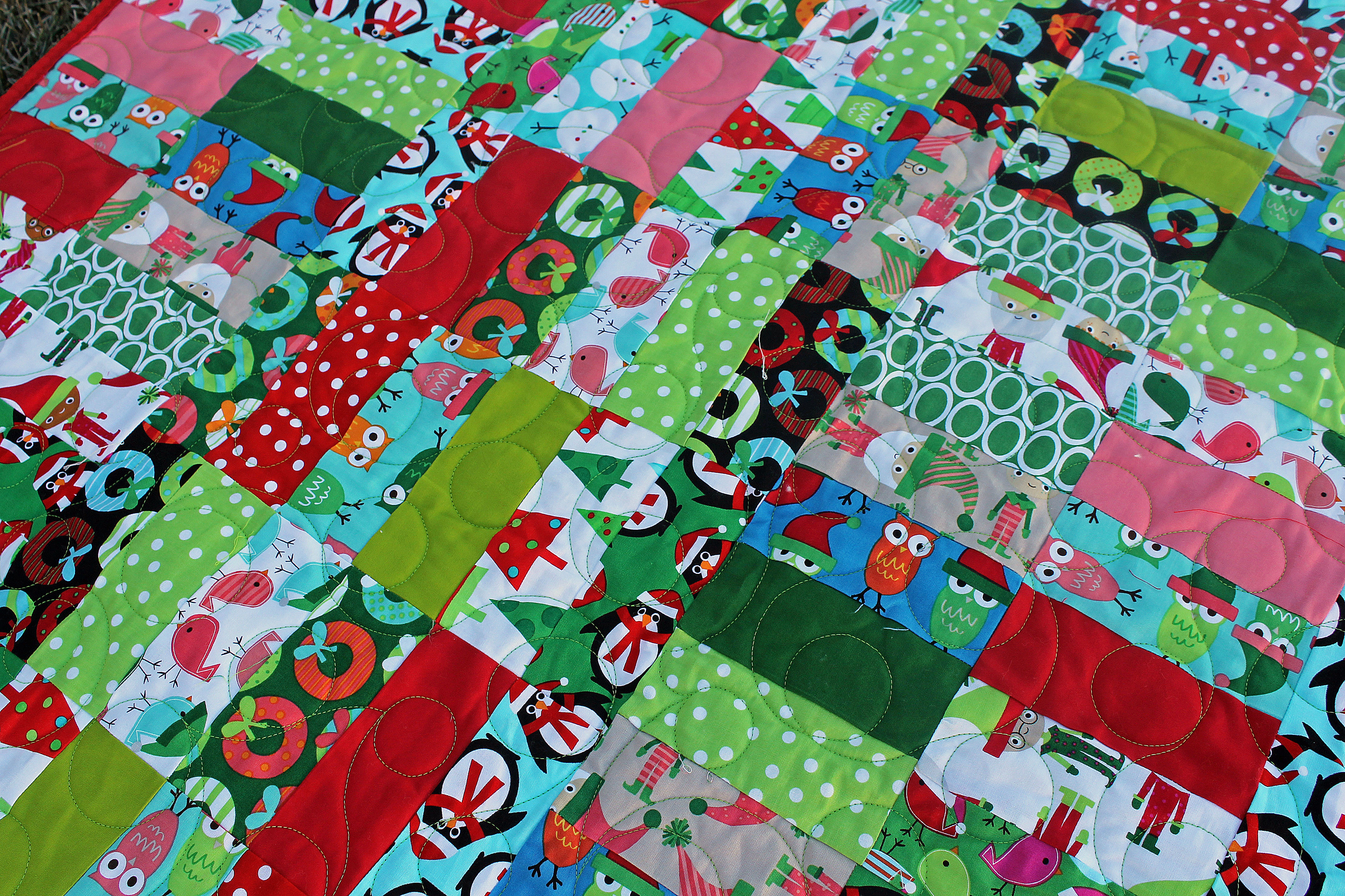 Jelly Roll Jam Christmas Quilt