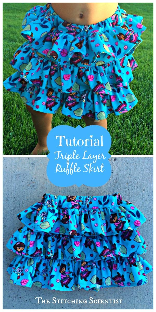 Triple Layer Ruffle Skirt
