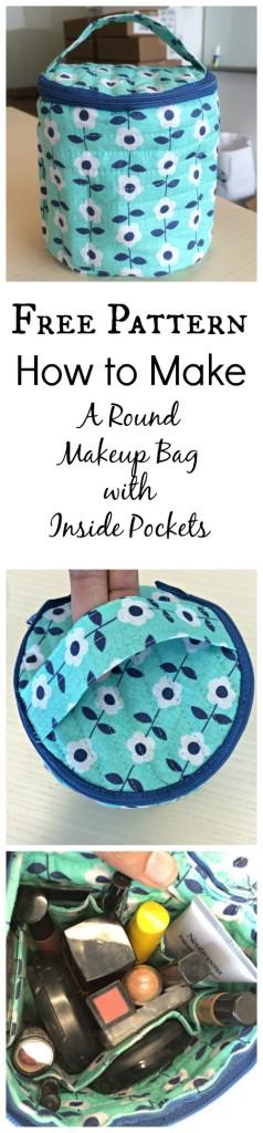 Round Makeup Bag Collage