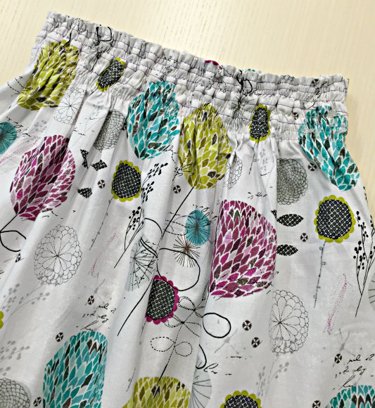 Shirred Waistband Skirt without Elastic Thread