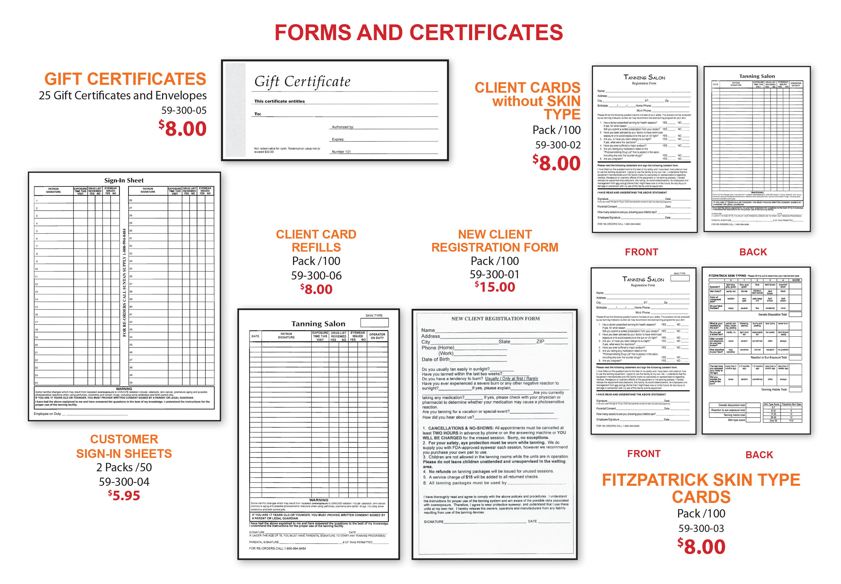 tanning salon forms and certificates