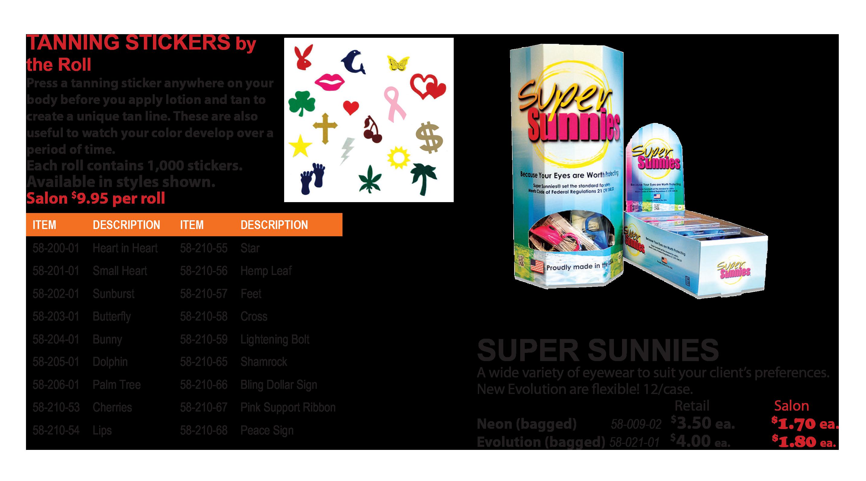 tanning stickers and super sunnies eyewear