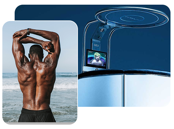 titan cryotherapy cold therapy unit and muscular man stretching