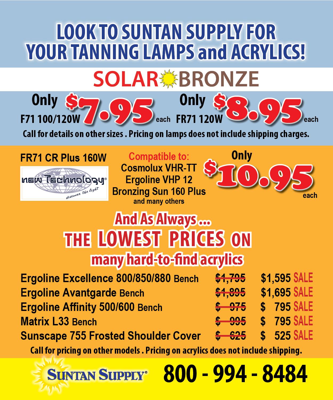 tanning lamp sale flyer